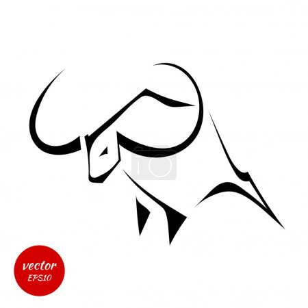 Illustration for Silhouette of a bull with huge horns isolated on white background. Vector illustration. - Royalty Free Image