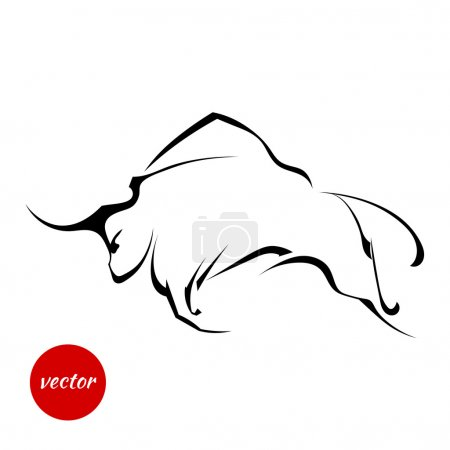 Illustration pour Silhouette de taureau sauvage sur fond blanc. Illustration vectorielle . - image libre de droit