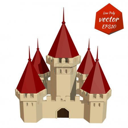 Cardboard Castle with red roofs. Low poly style. Vector illustra