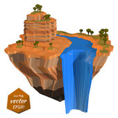 Abstract floating island with a rock waterfall Low poly style