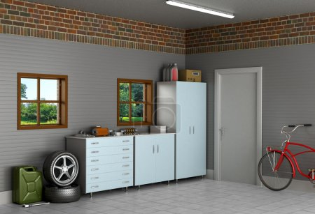 The interior suburban garage with car parts.