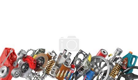 Photo pour Bordure de pièces automobiles isolées sur blanc. Service auto . - image libre de droit