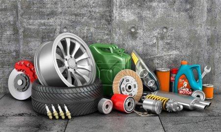 Photo pour Pièces automobiles sur mur en béton. Service auto . - image libre de droit
