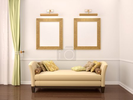 3d illustration of comfortable interior, two frames over the sof