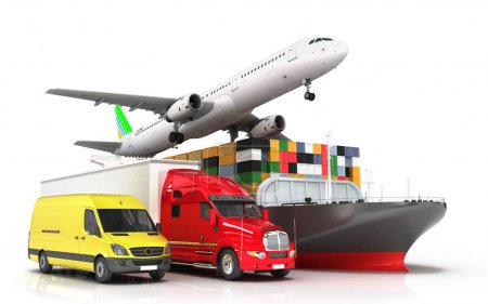 Photo for 3d render of different modes of transport in one direction seeking concept of diverse deliveries - Royalty Free Image