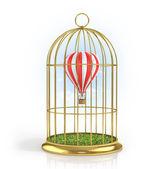 Balón v zlatý cage.3d ilustrace