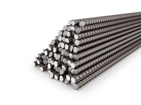 The bars of reinforcement. A set of reinforced steel. 3D illustr