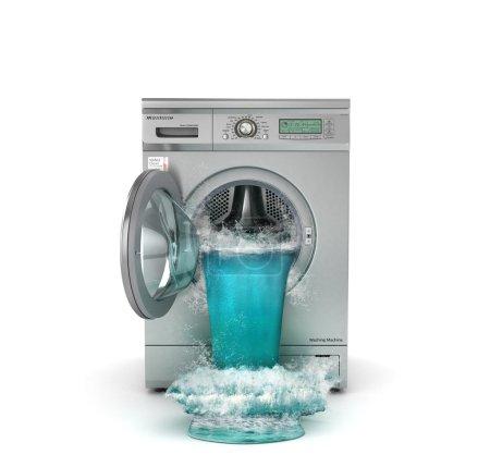 Concept de lavage. Machine à laver cassée. Suivez la cascade