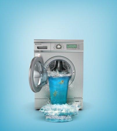 Photo pour Concept de lavage. Machine à laver cassée. La cascade découle de la fenêtre ouverte de la machine à laver. illustration 3D - image libre de droit