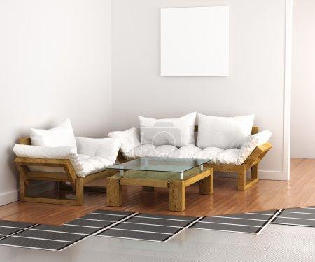 Photo pour Sol chaud. Système de chauffage à l'intérieur au sol. illustration 3D - image libre de droit