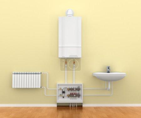 Photo pour Plancher chauffant système, le collecteur, la batterie. illustration 3D - image libre de droit