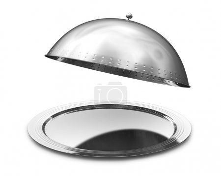 Photo for Restaurant cloche with open lid. 3d illustration - Royalty Free Image