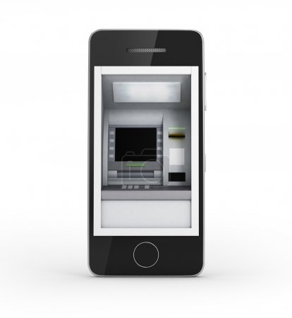 Photo pour Concept de paiement en ligne. Téléphone portable avec distributeur automatique et carte de crédit sur fond blanc - image libre de droit