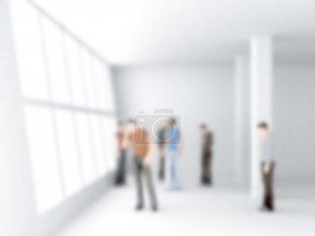 Photo for Abstakt image of people in the office center with a blurred background - Royalty Free Image