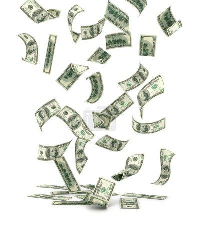 Falling US one hundred dollar bills, isolated on white.