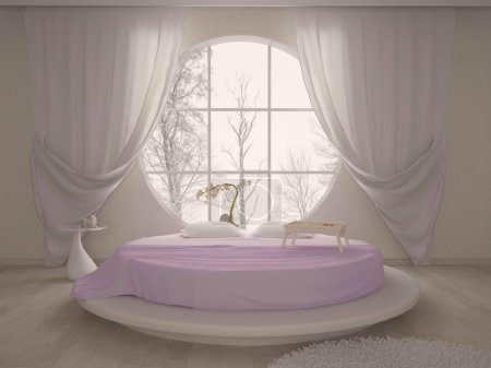Bedroom with a circular window and bed