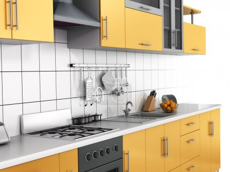 Photo for Modern kitchen on the thite background. - Royalty Free Image