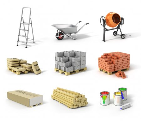 Set of construction material. Ladder, wheel, concrete mixer, cem