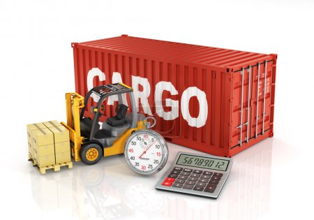 Container with forklift stacker loader holding cardboard boxes a