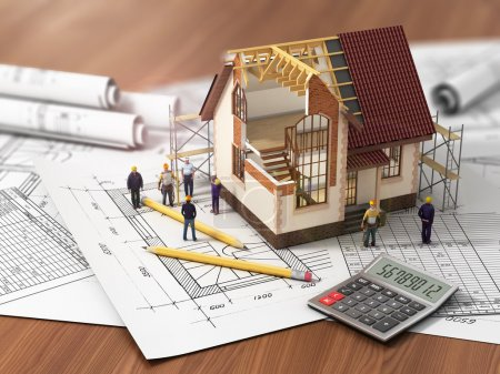 Photo for House with open interior on top of blueprints, documents and mortgage calculations and builbers. Construction concept. - Royalty Free Image