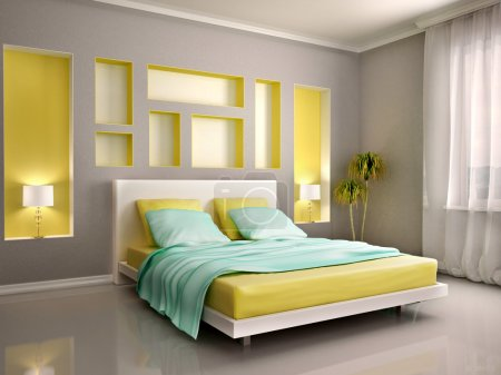 3d illustration of modern bedroom interior with yellow bed and n