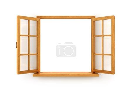 Fenêtre en bois ouverte isolée sur fond blanc