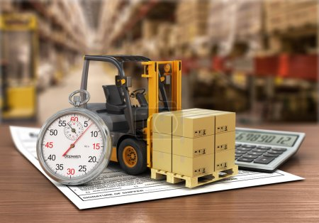 Photo for Forklift truck with boxes and stopwatch on the storage. Express delivery concept. - Royalty Free Image
