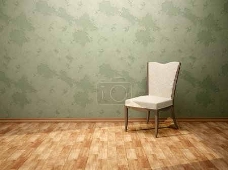 3d illustration of the chair in the room with green walls