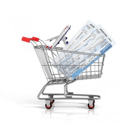 Photo for Air tickets and plane in the shopping cart on the white background. Online order concept. - Royalty Free Image