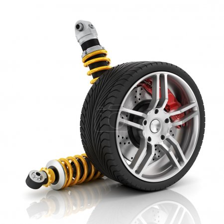 Car wheel with brakes, absorbers, tires and rims o...
