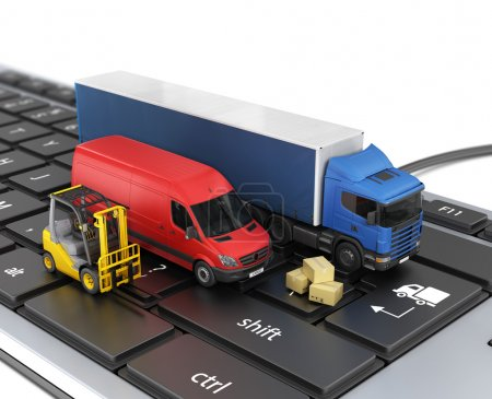 Concept of online order delivery. Delivery vehicles.