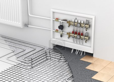 Underfloor heating with collector and radiator in ...