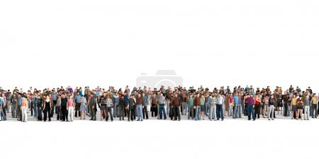 Photo for Crowd. Large crowd of people stay on a line on the white background. - Royalty Free Image