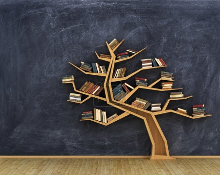 Photo for Concept of science. Bookshelf full of books in form of tree on a whiteboard. - Royalty Free Image
