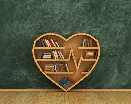 Concept of training. Wooden bookshelf full of books in form of h