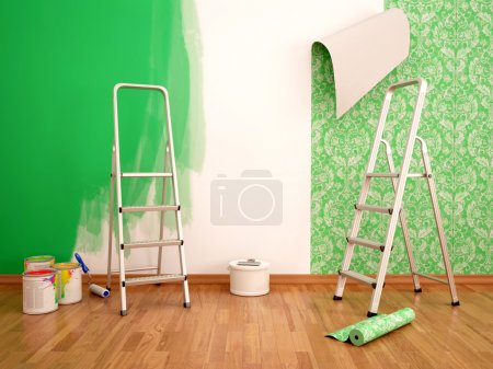 3d illustration of Painting wall and wallpapering ...