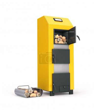 Solid fuel boiler and firewood on Metal Stand isolated on white