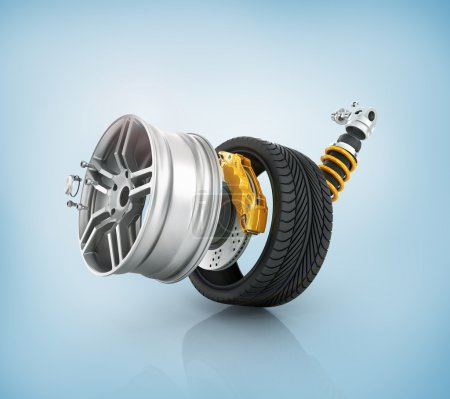 Concept of tire service. Wheels, Rims , brake pads and discs. CA
