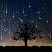 Night lonely tree falling stars