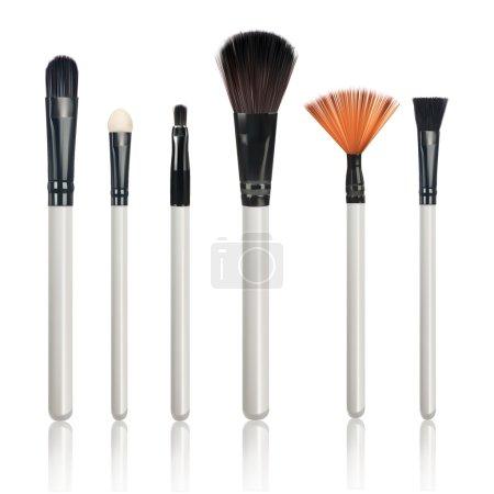 Make-up Brushes with reflection on isolated white background
