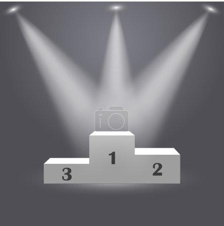 3d isolated Empty white podium on gray background. Vector illustration.