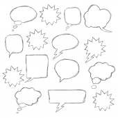 Set of hand drawn text correction elements Arrows pointing in different directions Underlines highlights objects and speech bubbles Red signs isolated on white background