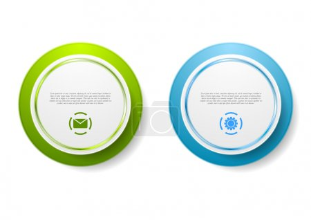 Abstract green and blue circle stickers. Vector de...
