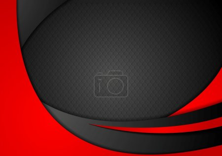 Illustration for Red and black abstract corporate waves on black background - Royalty Free Image