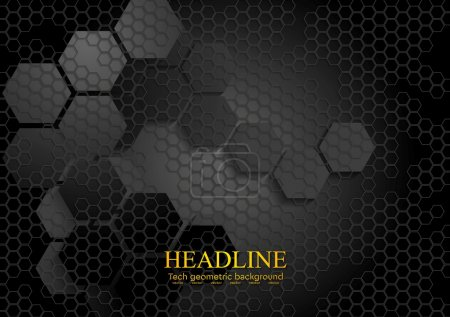 Illustration for Tech geometric black background with hexagon texture. Vector design - Royalty Free Image