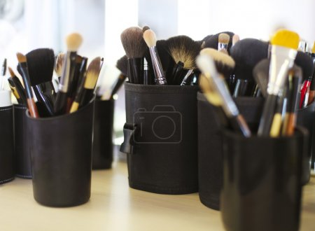Set of professional cosmetic brushes