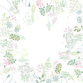 Square frame with contour  herbs on white Pattern with flowers for your spring design floral greeting cards posters