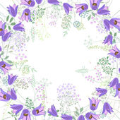 Square frame with contour bluebells and herbs on white Pattern with flowers for your summer design floral greeting cards posters