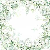 Square frame with contour galanthus and herbs on white Pattern with flowers for your spring design floral greeting cards posters