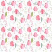 Floral seamless pattern with pink tulips and spring flowers Endless texture for romantic  design decoration  greeting cards posters  invitations advertisement